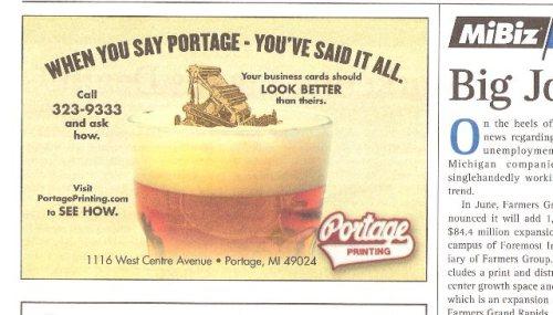 Portage Printing ad